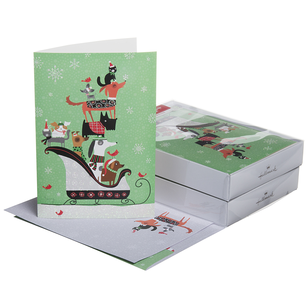 32 Pack Hallmark Christmas Greeting Cards With Envelopes Holiday Box Set Foil Glitter Cute