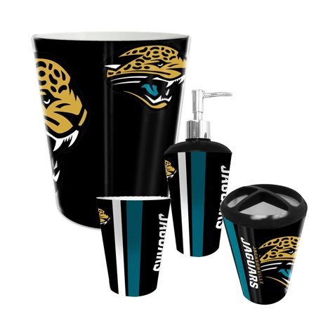 Jacksonville jaguars nfl complete bathroom accessories 4pc for Bathroom accessories at walmart