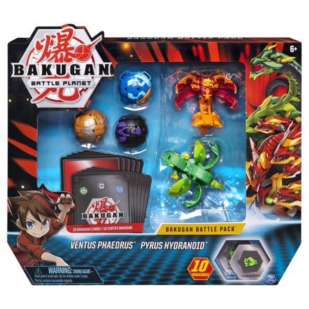 Bakugan, Battle Pack 5-Pack, Ventus Phaedrus and Pyrus Hydranoid, Collectible Cards and Figures, for Ages 6 and Up Bakugan Battle Pack