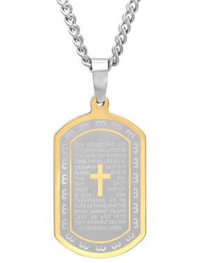 Men's Two-Tone Stainless Steel Lord's Prayer Dog Tag - Mens Pendant Necklace Chain