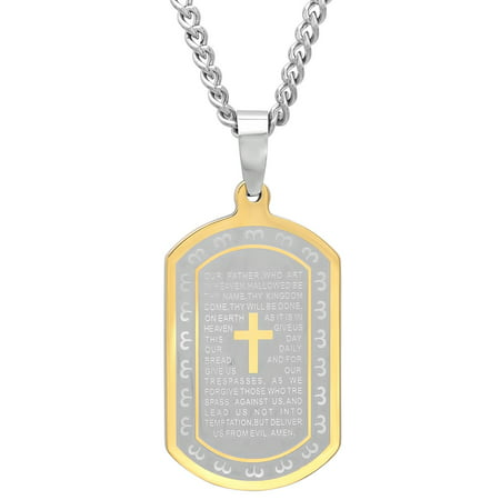 Men's Two-Tone Stainless Steel Lord's Prayer Dog Tag - Mens Pendant Necklace Chain - Custom Dog Tag Necklace
