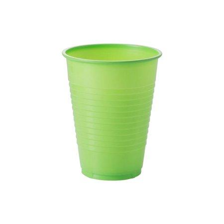 Exquisite Lime Green Plastic Cups, 100 Count Bulk Party Pack, Heavy Duty Disposable Plastic Cups, 12 Oz (Disposable Cup Bulk)