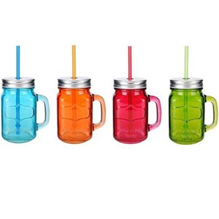 Glass Mason Jar 4 Pc Set 15.5 Oz w/Straw With Handles Assorted Colored Steel Lid