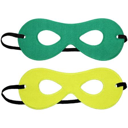 SeasonsTrading Child Green/Yellow Reversible Superhero Mask - Green Superhero Mask