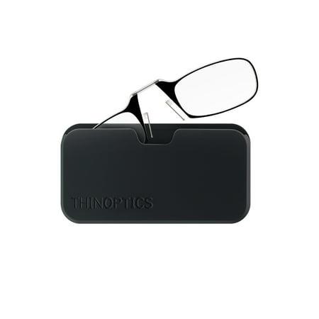ThinOPTICS Reading Glasses + Black Universal Pod Case | Classic Collection, Black Frames, 2.50 (Classy Reading Glasses)