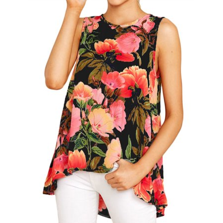 Womens Tank Tops Basic Retro Floral Printed Sleeveless Loose Tunic Casual Asymmetric Hem Round Neck Shirts (Retro Print Sleeveless)
