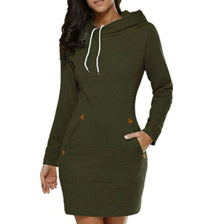 Women Long Sleeve Slim Hooded Pullover Zipper Tunic Sweatshirt Dress Hoodie with Pockets Zipper Long Sleeve Sweatshirts