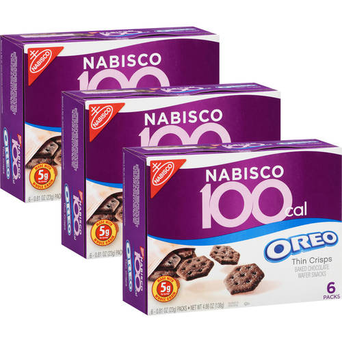 Nabisco 100 Calorie Oreo Thin Crisps Baked Chocolate Wafer Snacks, .81 oz, 6 count (Pack of 3)
