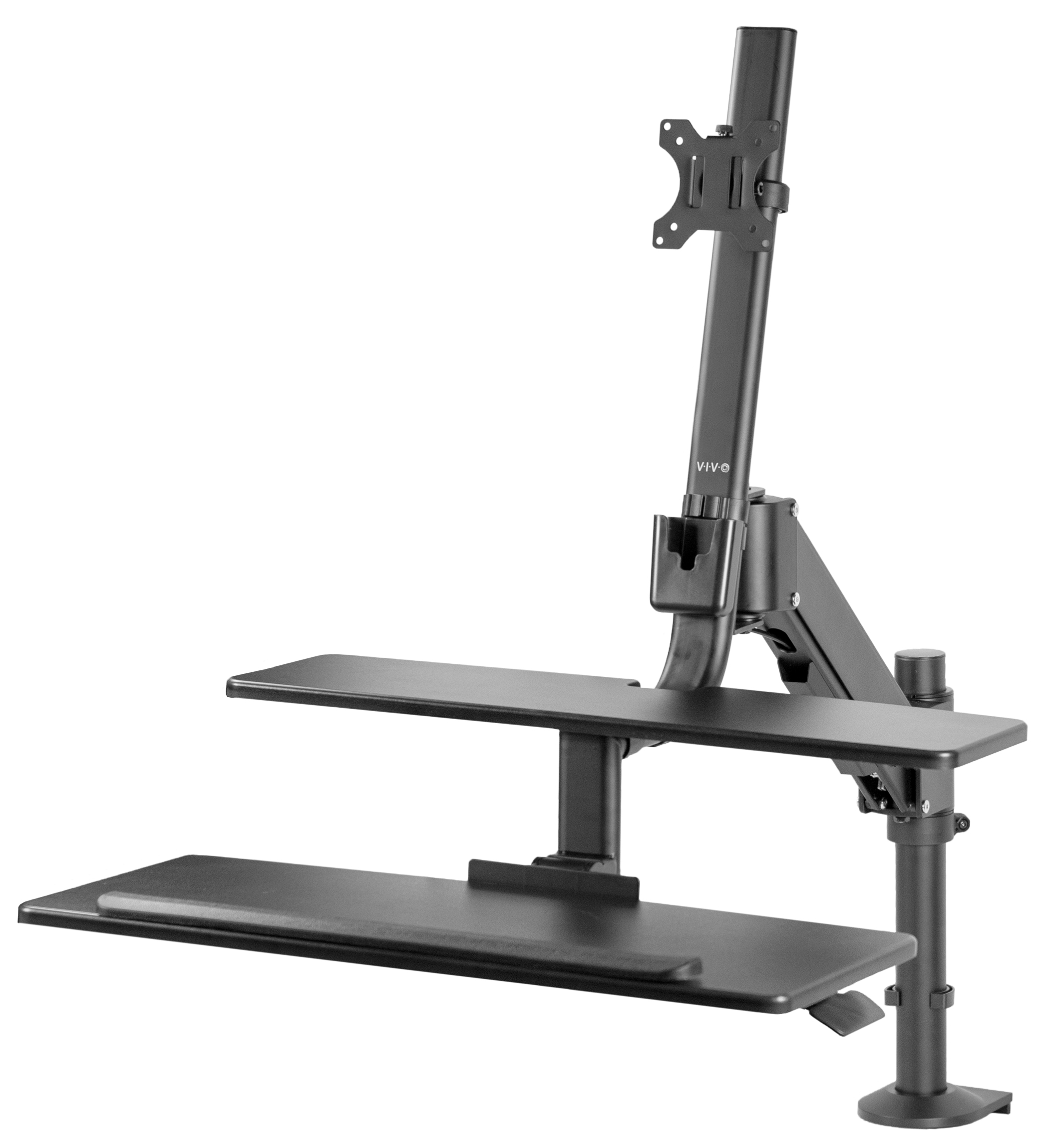 "VIVO Black Single Monitor Sit-Stand Adjustable Standing Desk Mount with Keyboard Tray | Screens 17"" to 32"" (STAND-SIT1D)"