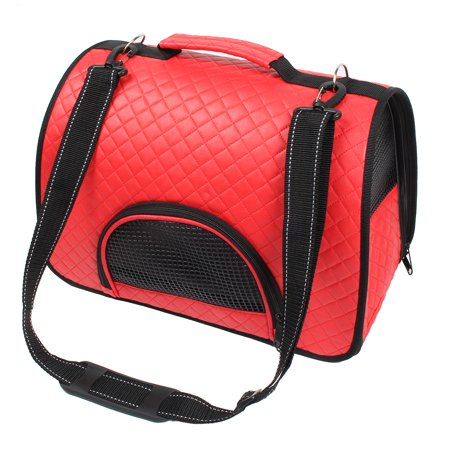 Outdoor Travel Soft Faux Leather Meshy Double Sided Zipper Pet Carrier Bag Red Faux Leather Pet Carrier