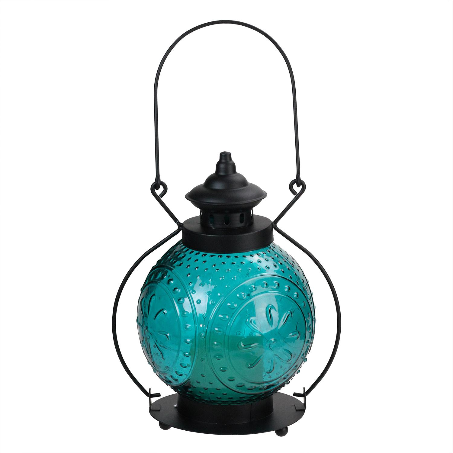 "11"" Ocean Blue Molded Glass Lantern with Flameless LED Pillar Timer Candle"