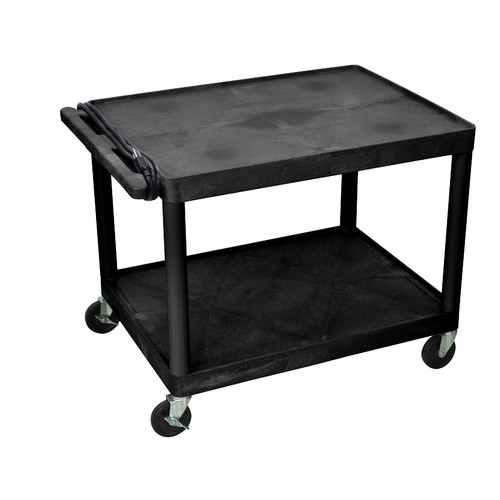 Luxor 2-Shelf A/V Cart with Electric, Black