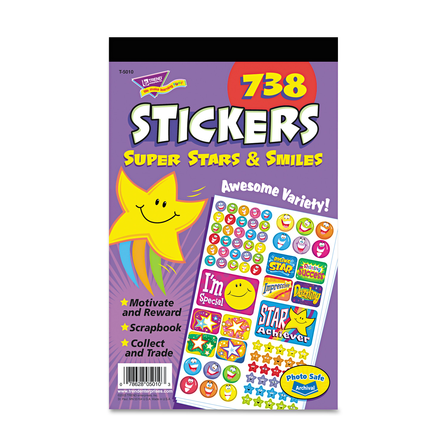 TREND Sticker Assortment Pack, Super Stars and Smiles, 738 Stickers/Pad -TEPT5010