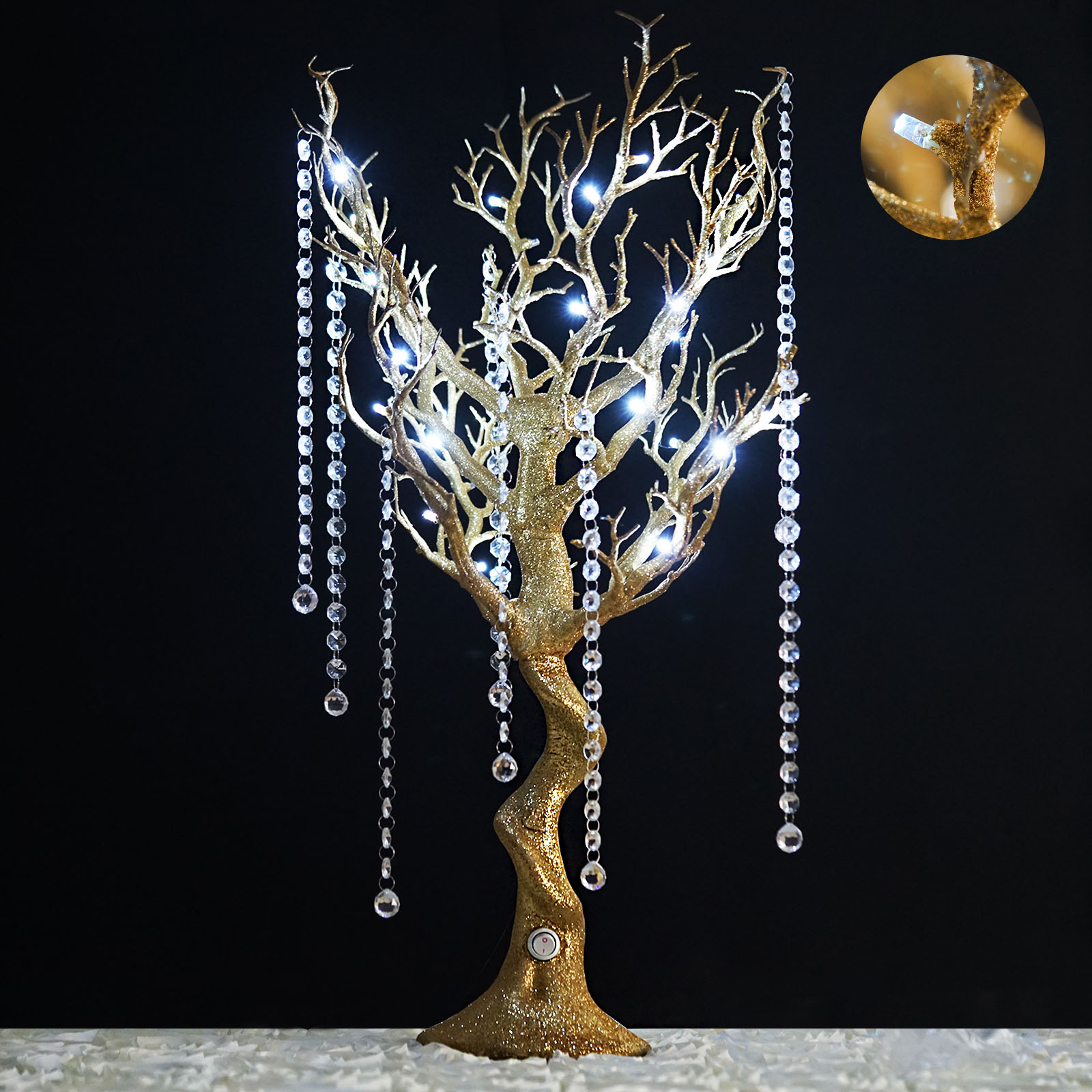 BalsaCircle 30 inch Glittered Manzanita Tree with LED Lights - Wedding Party DIY Centerpieces Decorations Supplies