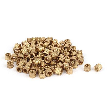 Brass Regulator Nut (M5 x 5mm Brass Cylinder Injection Molding Knurled Threaded Embedment Nuts 100PCS)