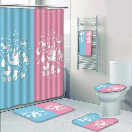 EREHome Gender Reveal Cute Icons Girls Boys Baby Shower Stylized Toys Sky 5 Piece Bathroom Set Shower Curtain Bath Towel Bath Rug Contour Mat and Toilet Lid Cover - image 1 of 2