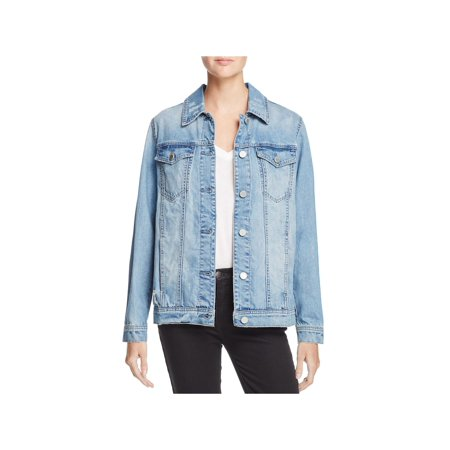 Blank NYC Womens Distressed Studded Denim Jacket