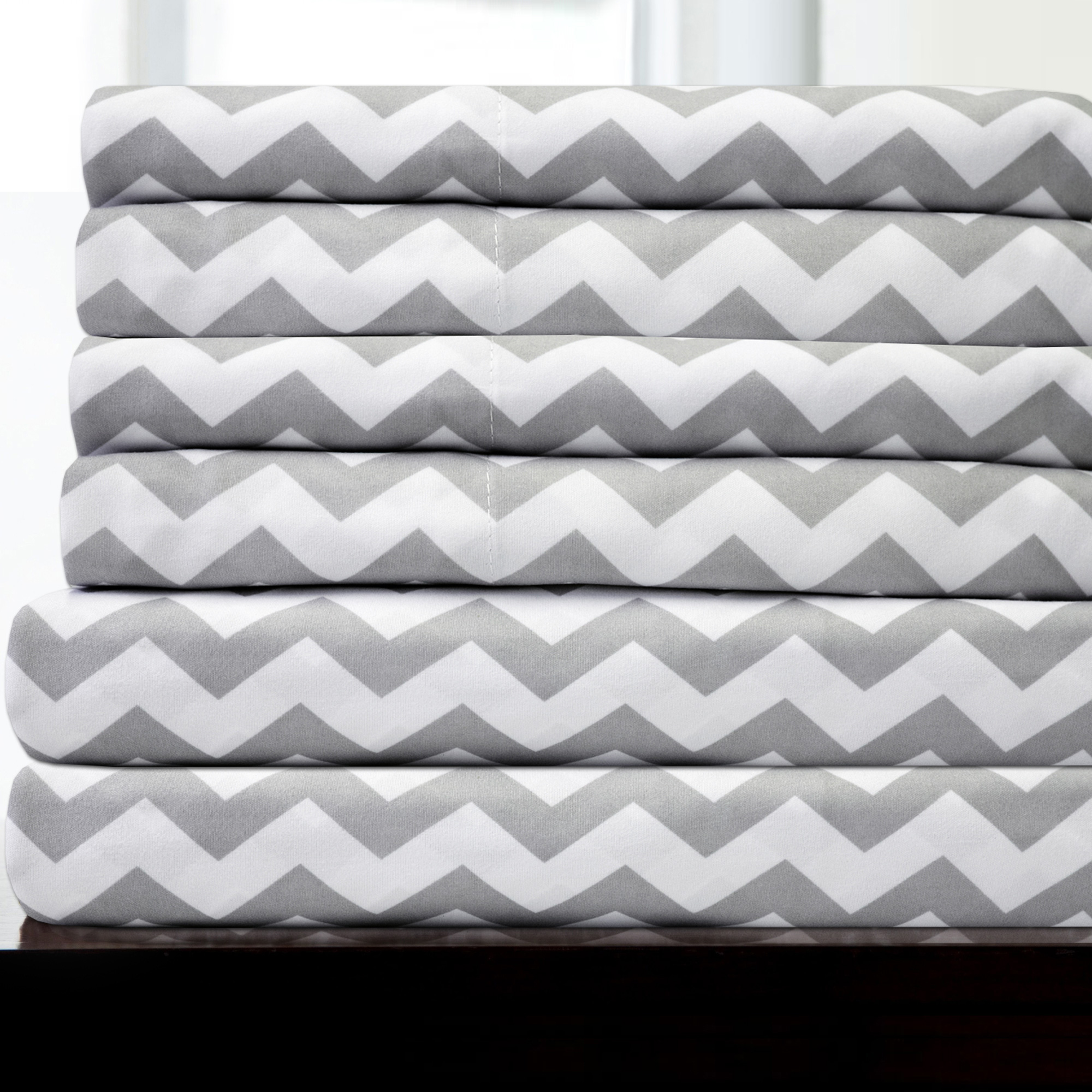 1500 Thread Count Egyptian Quality Microfiber Deep Pocket Bedroom Chevron Sheet Set