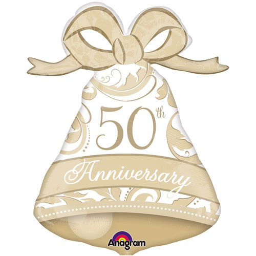"XL 27"" Gold Elegant 50th Anniversary Bell Super Shape Mylar Foil Balloon Party"