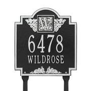 Whitehall Products 5106BG Standard Lawn Two Line Monogram Address Plaque, Black & Gold
