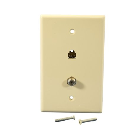 Cooper 3536-4A Almond Mid-Size Combination Coax Jack and Four Wire Telephone Jack Wall - Combination Plug