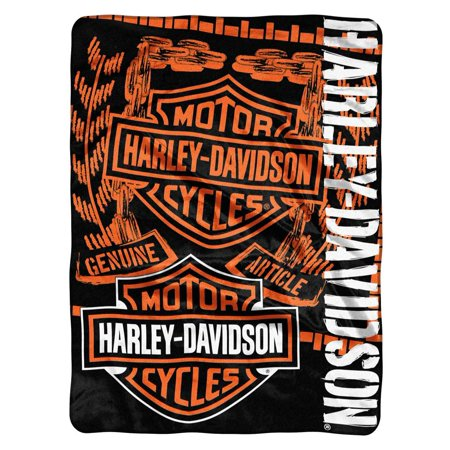 HarleyDavidson Gear Bar Shield Raschel Throw Blanket Black Gorgeous Harley Davidson Blankets And Throws