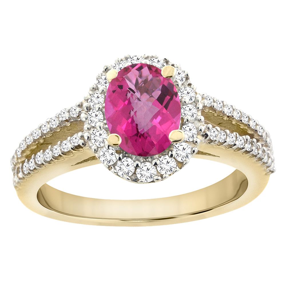 14K Yellow Gold Natural Pink Sapphire Split Shank Halo Engagement Ring Oval 7x5 mm, size 5 by Gabriella Gold