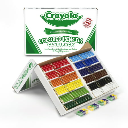Crayola Colored Pencils Bulk, 12 Assorted Colors, 240 Count Classpack