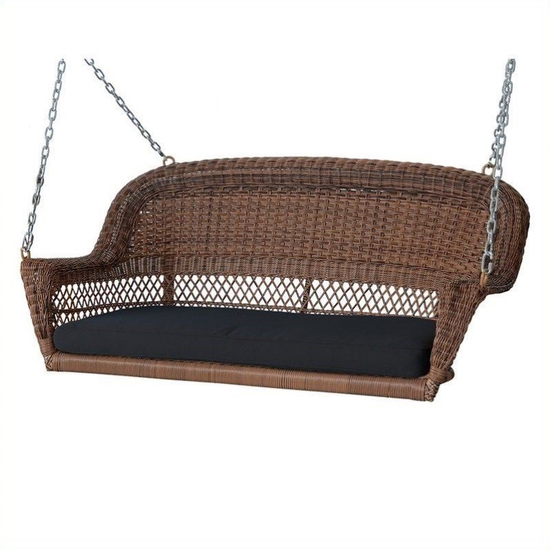Jeco Honey Wicker Porch Swing with Black Cushion by Jeco Inc.
