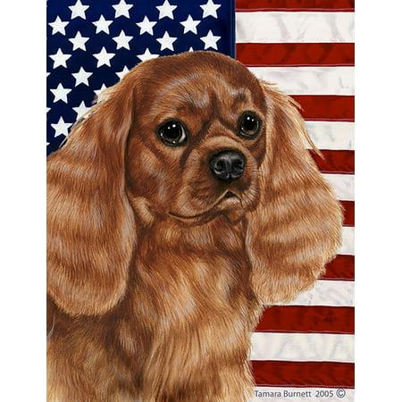 Cavalier King Charles Ruby - Best of Breed Patriotic II Garden Flags