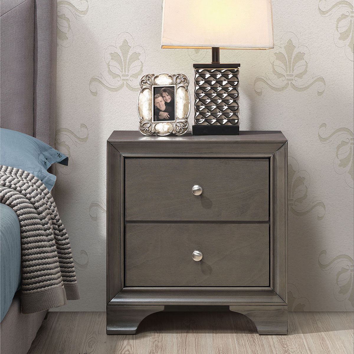 Gymax 2PCS 2 Drawers Nightstand Sofa Side End Table Storage Furniture W/USB Port Gray - image 1 of 10