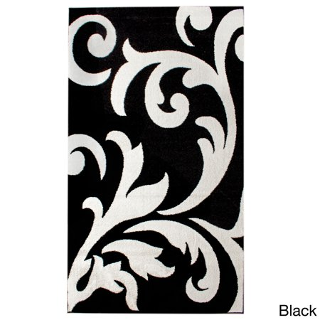 Super Area Rugs Metro Stain Resistant Black White Damask Rug 8 X 10