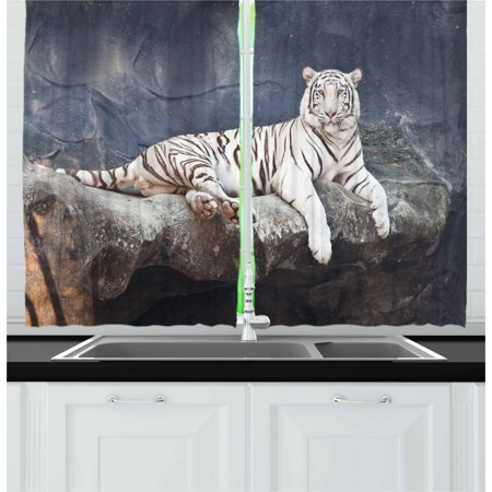 Tiger Curtains 2 Panels Set, Albino Cat Sitting on Rock Sublime Nature Marvelous Animals Endangered Species, Window Drapes for Living Room Bedroom, 55W X 39L Inches, Slate Blue White, by Ambesonne ()