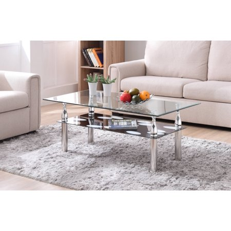 Glass Metallic Coffee Table (Hodedah Glass Rectangle Coffee Table,)
