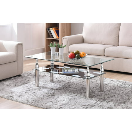 Hodedah Glass Rectangle Coffee Table, Clear/Black ()