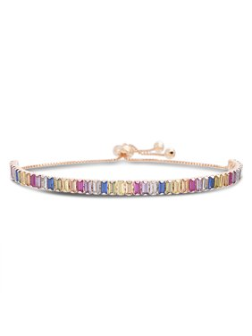 Multicolored Cubic Zirconia Tennis Slider Bracelet in Sterling Silver