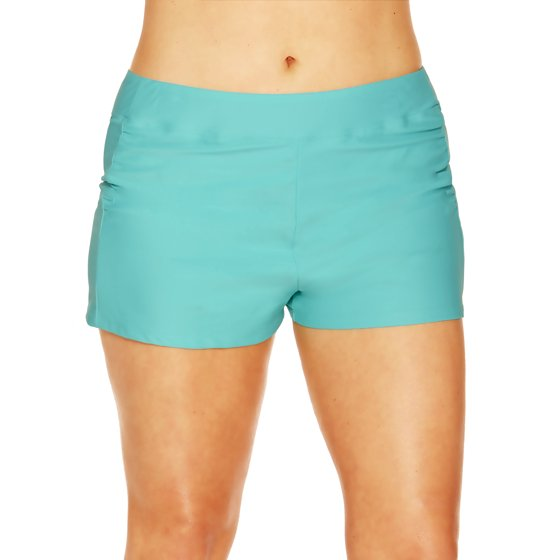 3249d52d9c3 Time and Tru - Women s Plus-Size Full Coverage Shirred Swim Shorts ...