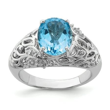 925 Sterling Silver Rhodium Light Swiss Blue Topaz and Diamond Ring - image 2 de 2