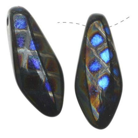 Czech Glass 7 x 17mm Dagger Beads - Peacock Black Azuro (12)