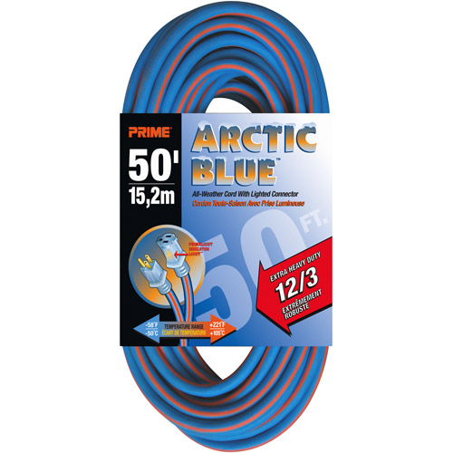 Prime Extra Heavy Duty 50-Foot Arctic Blue All-Weather TPE Extension Cord