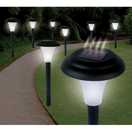 Pure Garden Solar Powered Black Accent Lights, Set of 8
