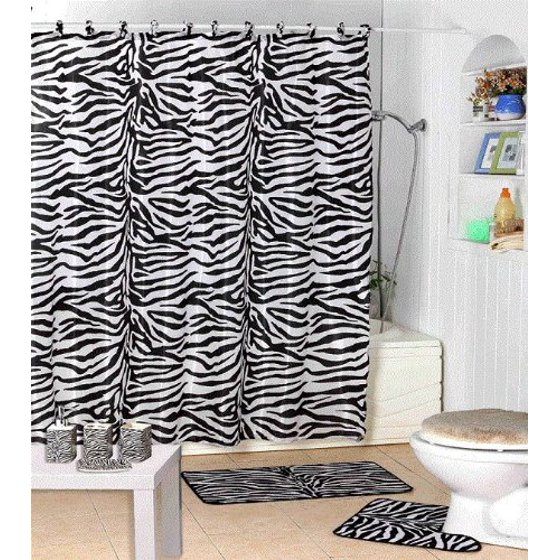 17 Piece Bath Accessory Set- Black Zebra Shower Curtain with ...