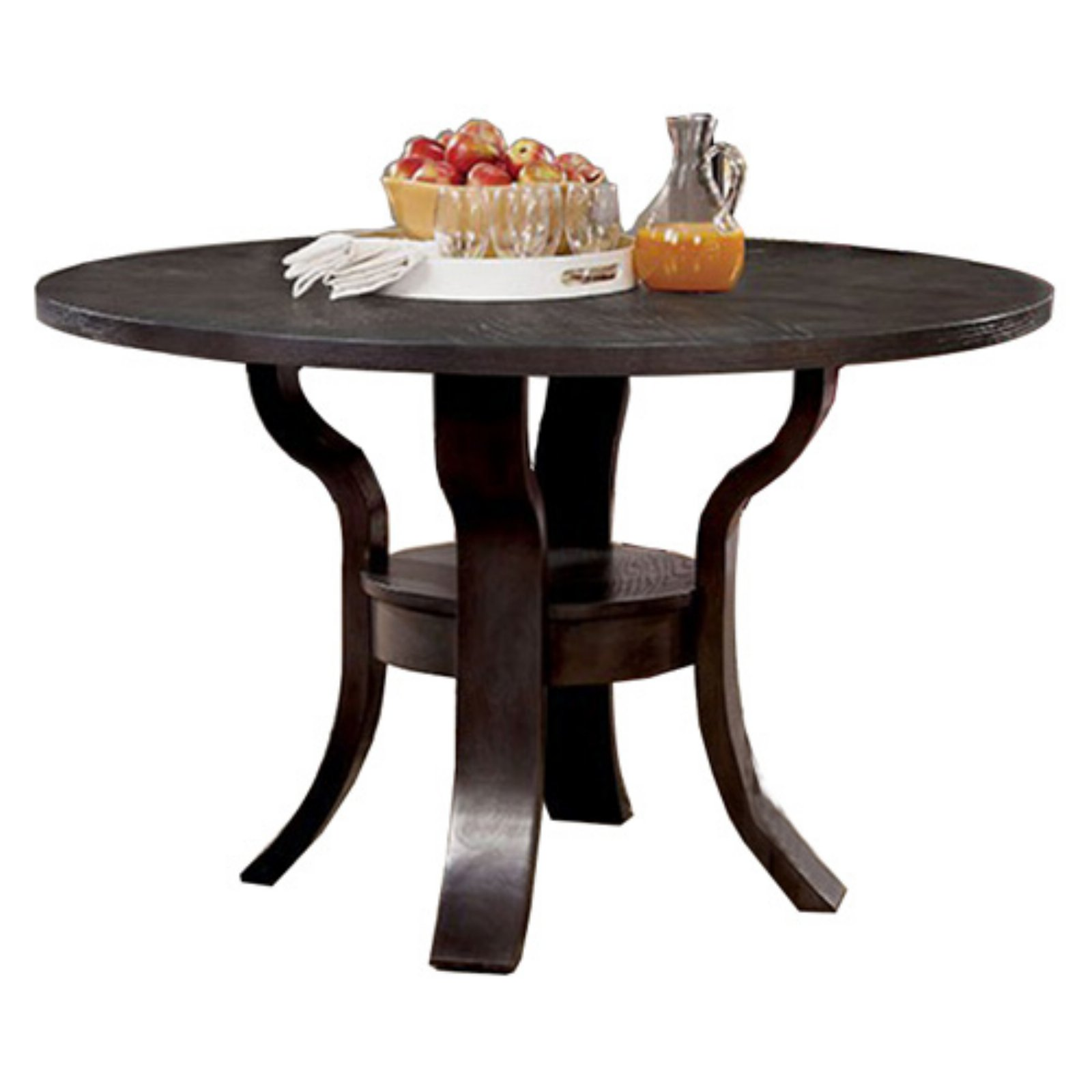 Gisela Transitional Round Dining Table, Brown