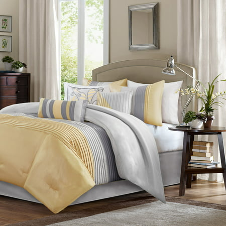 Salem Pleated Colorblock Comforter Set (Queen) Yellow - 7pc