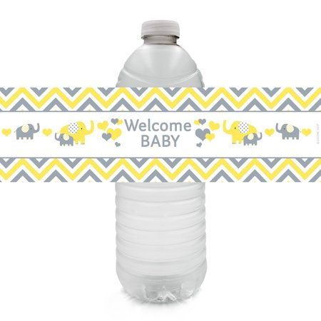 Yellow and Gray Elephant Baby Shower Water Bottle Labels, 20 - Yellow And Gray Baby Shower Decorations