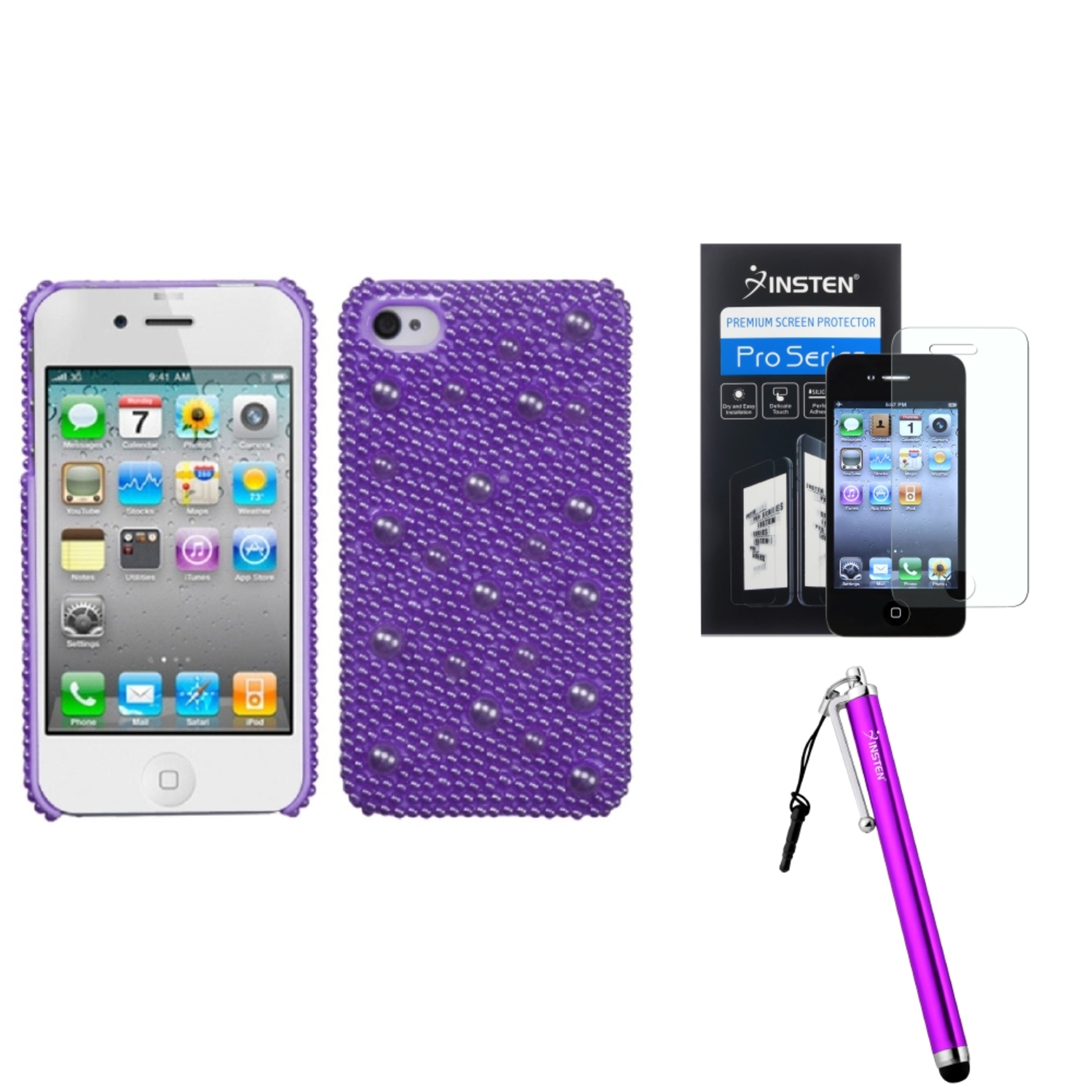 Insten Baby Purple Pearl Diamante Back Case For Apple iPhone 4 4S + Stylus + Screen Protector