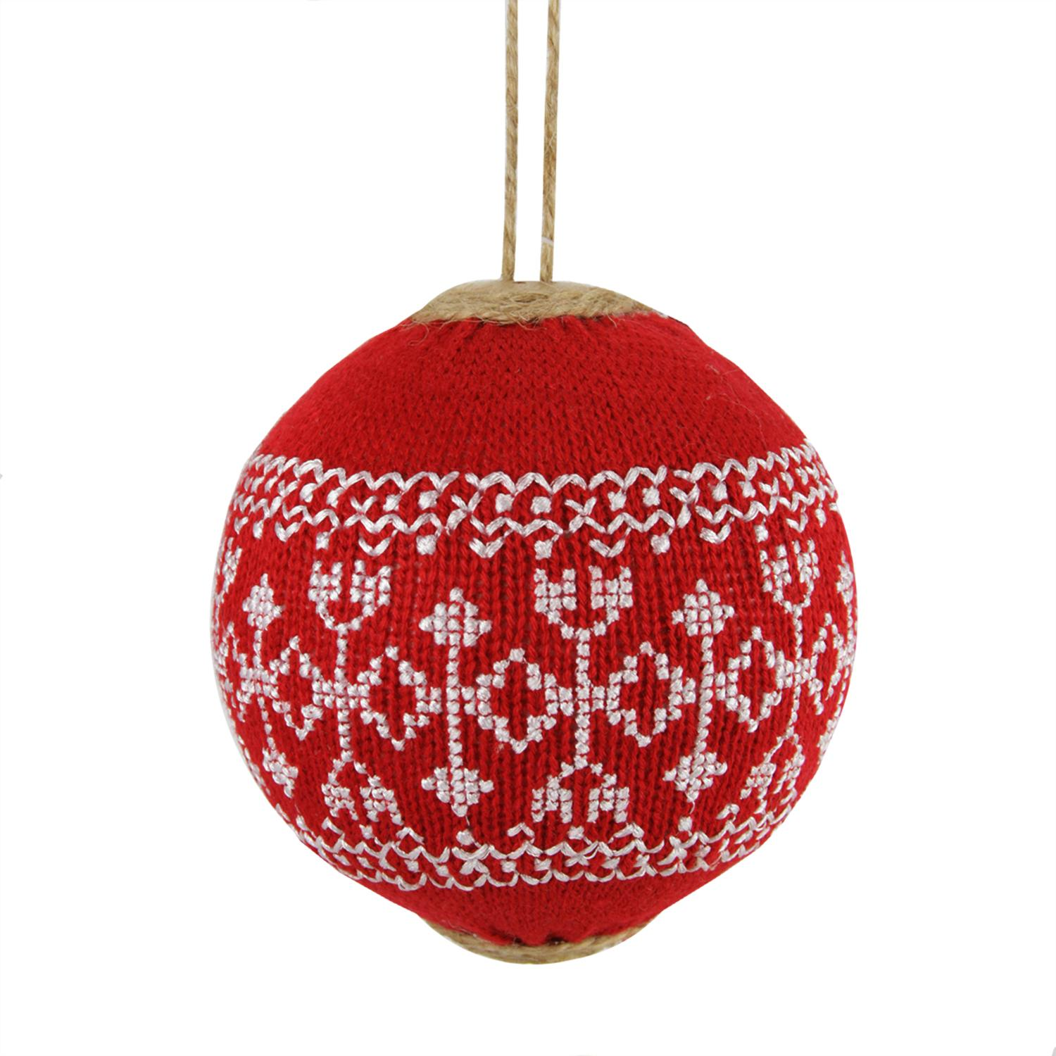 "4"" Alpine Chic Red with White Snowflake Nordic Design Christmas Ball Ornament"