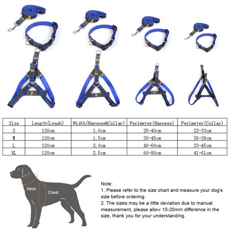 3pcs/Set Denim Heavy Duty Pet Dog Collar Leash Adjustable Harness 1.2m Traction Rope Leash for Small/Medium/Large Dogs for Daily Training Walking Running - image 6 de 7