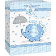 (3 Pack) Elephant Baby Shower Gift Bag, 13 x 10.5 in, Blue, 1ct