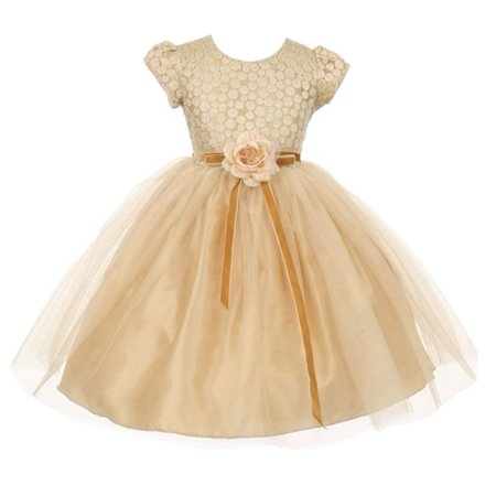 Metallic Lace Dress (Good Girl Girls Gold Metallic Lace Tulle Junior Bridesmaid Dress )